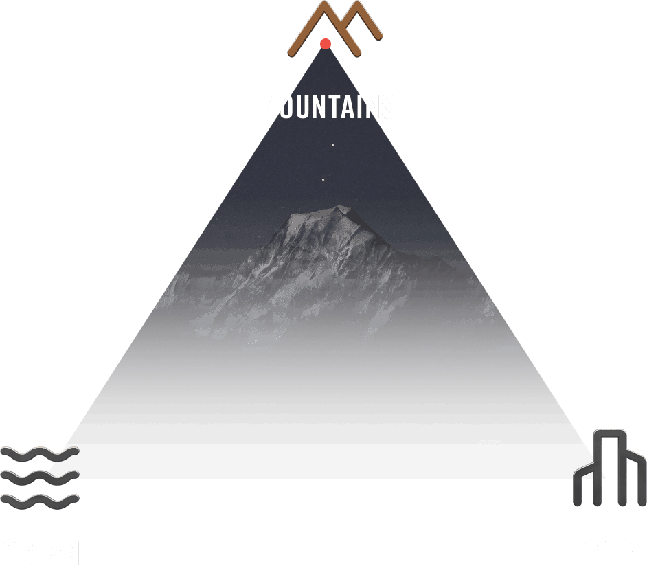 Mountains Ocean City Illustration